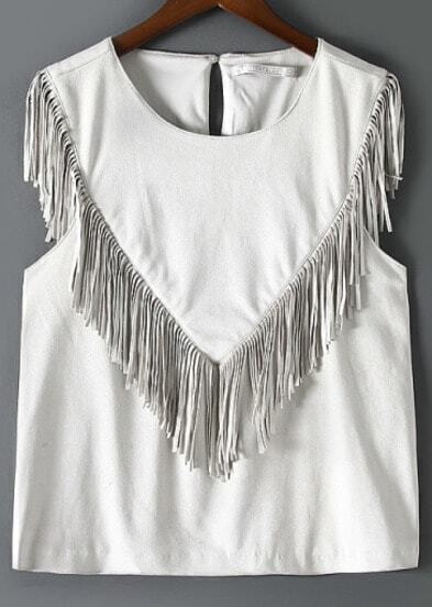 White Round Neck Tassel Tank Top