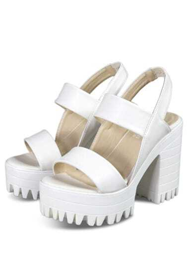 White Chunky High Heel Hidden Platform Casual Sandals