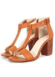 Brown Chunky High Heel T Sandals