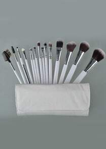 15pcs Brush For Face Make Up Tools with White Leather Bag