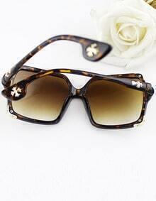 Fashion Design Leopard and Black Frame Square Resin Lens Sunglasses
