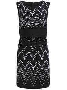 Black Sleeveless Geometric Embroidered Cut Out Dress