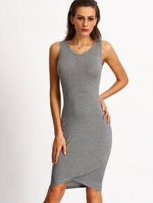 Grey Knittet Sleeveless Ruched Battenburg Wrap Front Dress