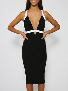 Black Sleeveless Deep V Neck Slim Fishtail Dress