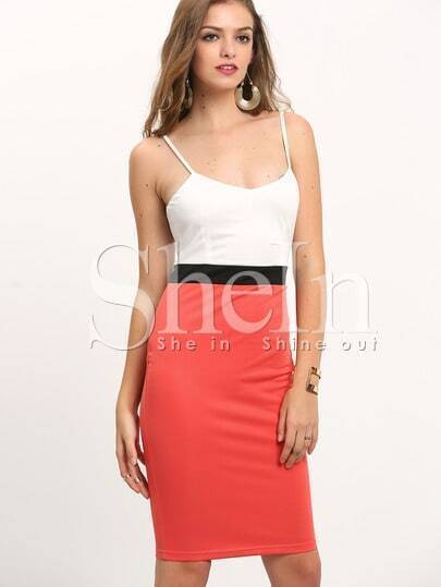 Pink White Spaghetti Strap Color Block Dress pictures