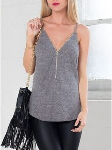 Grey Spaghetti Strap Zipper Cami Top