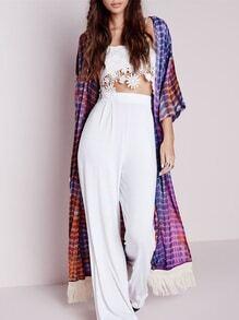 Purple Long Sleeve Vintage Print Tassel Kimono
