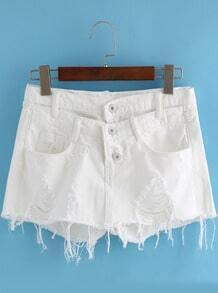 White Pockets Ripped Fringe Denim Shorts
