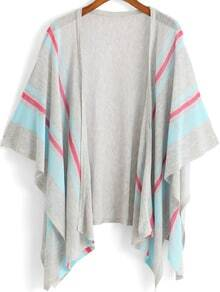 Grey Blue Kimono Sleeve Striped Knit Cardigan