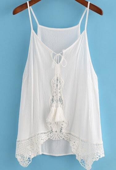 White Spaghetti Strap Lace Loose Cami Top