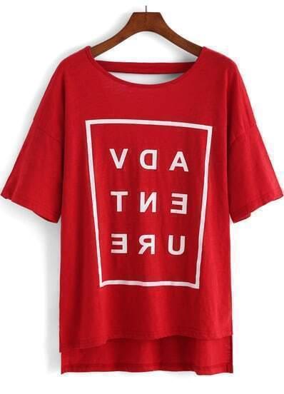 Red Short Sleeve Letters Print Dip Hem T-Shirt