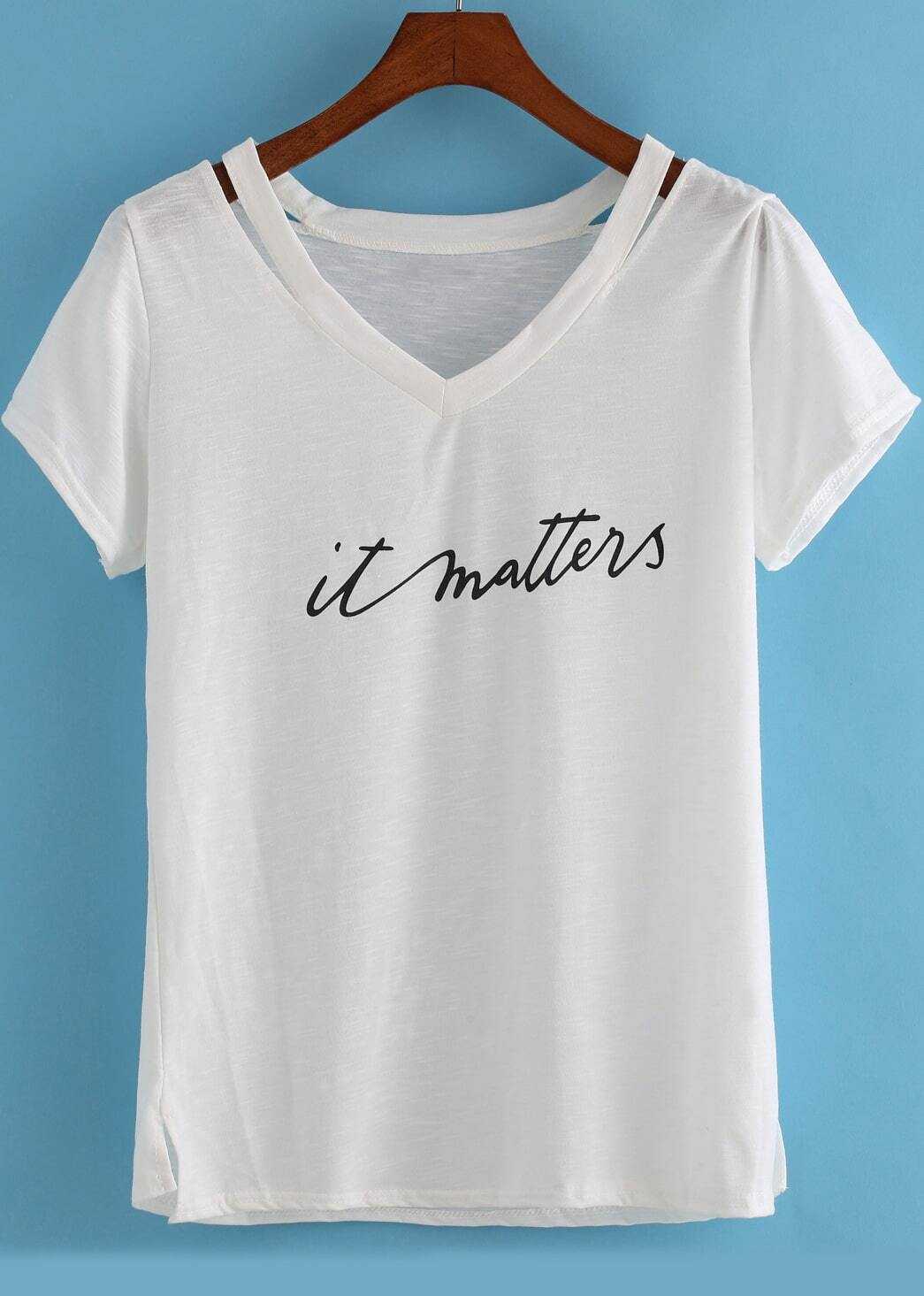 White V Neck Hollow Letters Print T-Shirt Tshirt -SheIn