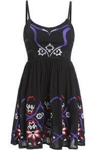Black Spaghetti Strap Embroidered Pleated Dress
