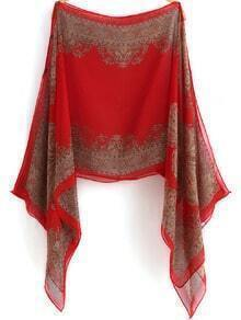 Red Off the Shoulder Loose Chiffon Blouse