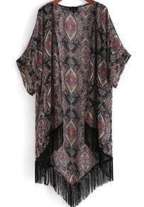 Black Long Sleeve Floral Tassel Dip Hem Kimono