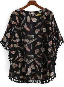 Black Feather Print Tassel Chiffon Kimono