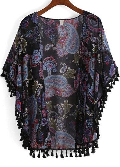 Blue Cashew Print Tassel Chiffon Kimono
