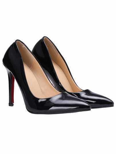 Black High Heel Point Toe PU Pumps