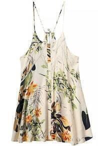 Apricot Spaghetti Strap Leaves Print Lace Dress