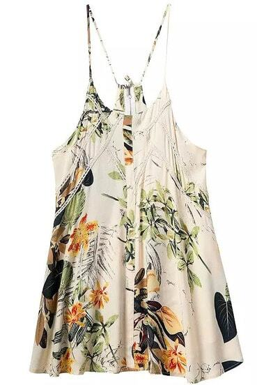 Apricot Spaghetti Strap Leaves Print Lace Dress