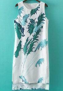 White Sleeveless Reed Print High Low Dress