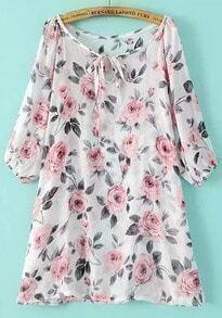 White Tie-neck Rose Print Loose Dress