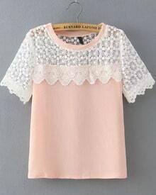 Pink Lace Short Sleeve Loose Blouse