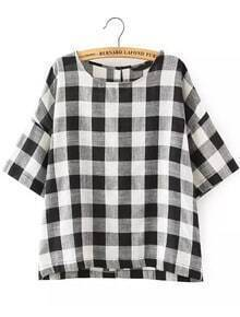Black White Round Neck Plaid Loose Blouse