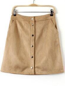 Apricot Buttons Pockets Bodycon Skirt