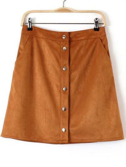 Khaki Buttons Pockets Bodycon Skirt