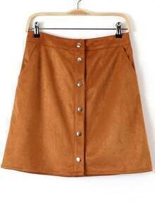 Khaki Buttons Pockets Bodycon Skirt