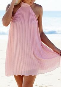 Pink Beachy Halter Backless Pleated Loose Dress