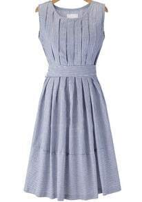 Blue Sleeveless Striped Tie-Waist Dress