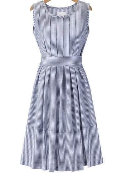 Blue Sleeveless Striped Tie-Waist Dress