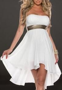 White Strapless Sequined Chiffon High Low Dress