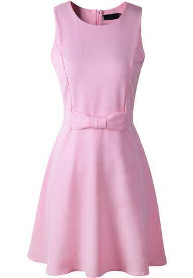 Pink Sleeveless Bow Embellished Tank Dress
