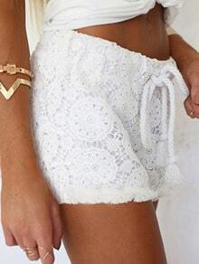 White Drawstring Lace Straight Shorts