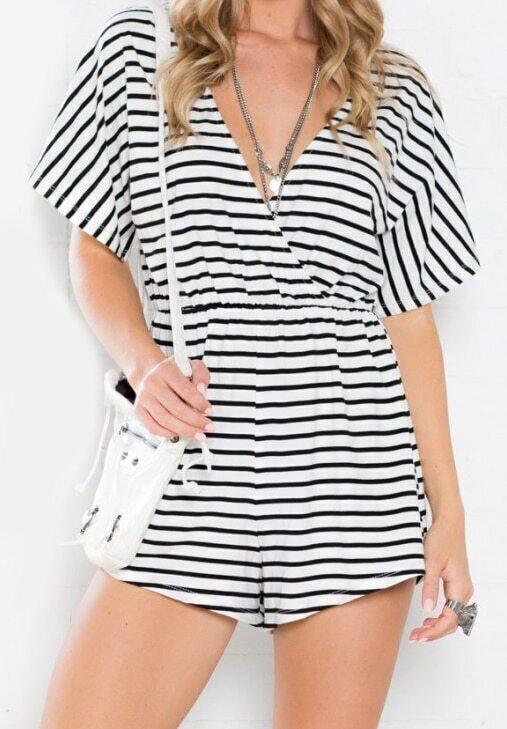 Black White V Neck Striped Loose Jumpsuit