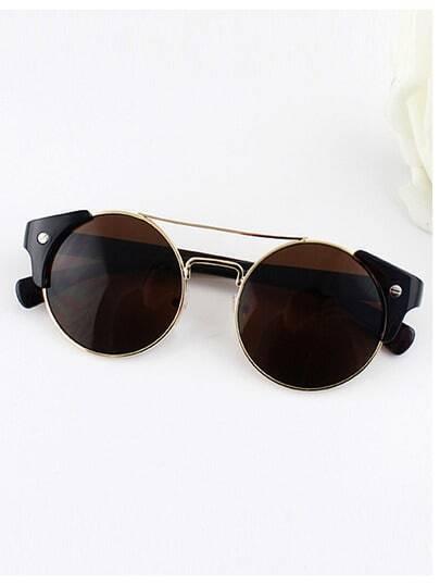 Brown Metal Frames Wrap Resin Sunglasses