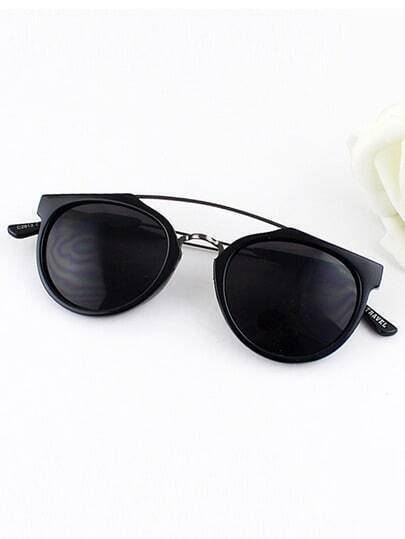 Black Metal Frames Wrap Resin Sunglasses