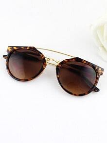 Leopard Metal Frames Wrap Resin Sunglasses