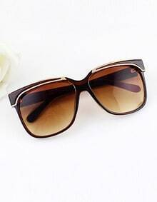Brown Frames Resin Plastic Wrap Sunglasses