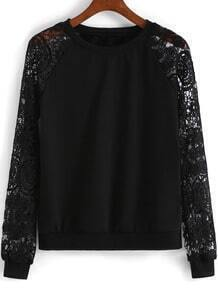 Black Lace Long Sleeve Loose Sweatshirt