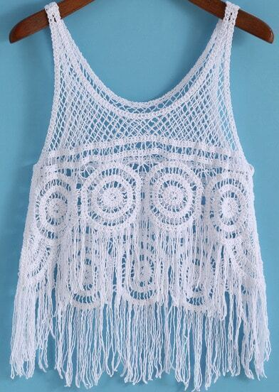 Blue Strap Hollow Tassel Lace Cami Top