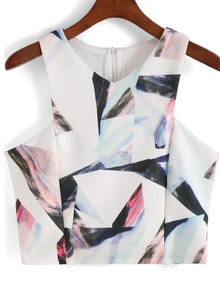 White V Neck Geometric Print Crop Tank Top