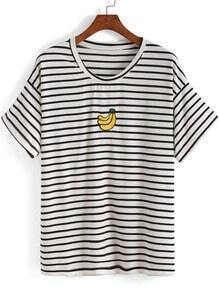White Short Sleeve Striped Banana Print T-Shirt