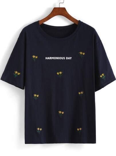 Navy Short Sleeve Embroidered HARMONIOUS DAY Print T-Shirt