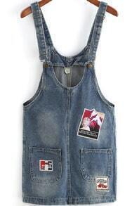 Blue Strap Vintage Pockets Denim Dress