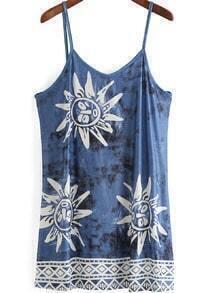 Blue Spaghetti Strap Sunflower Print Dress