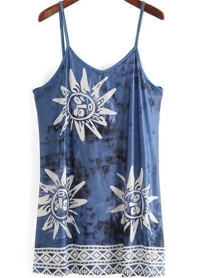 Blue Bleached Spaghetti Strap Sunflower Print Dress